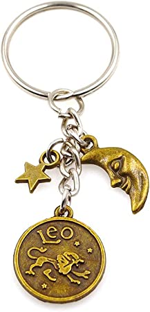 Crystal Zodiac Sign 12 Constellation Key Chain 3D Star Sign Women/'s Accessories