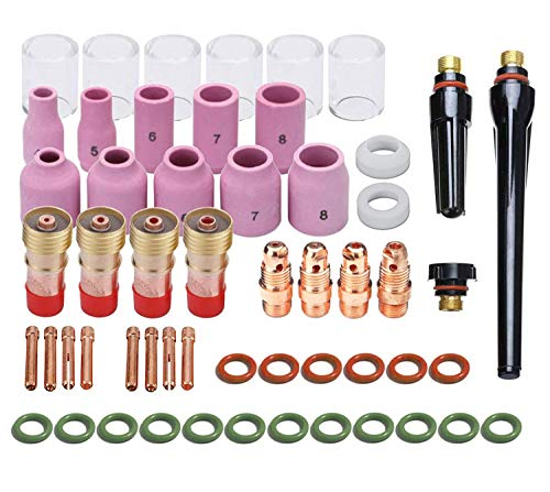 Jack&Dave 55PCS TIG Welding Torch Stubby Gas Lens #10 Pyrex Glass Cup Kit For WP-17/18/26