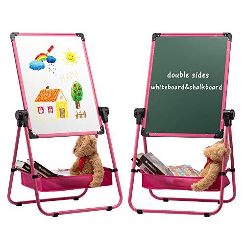DOEWORKS 24' x 18' Pizarra magnética en forma de U para niños Flipchart Easel, Whiteboard de dos lados y pizarra Pizarra blanca permanente con caja de almacenamiento de bonificación, Rosado