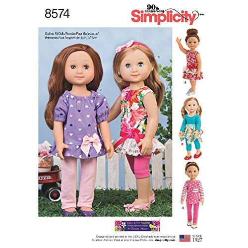 Simplicity 8574Simplicity patroon 8574 poppenkleding, papier, wit, 35,6 cm