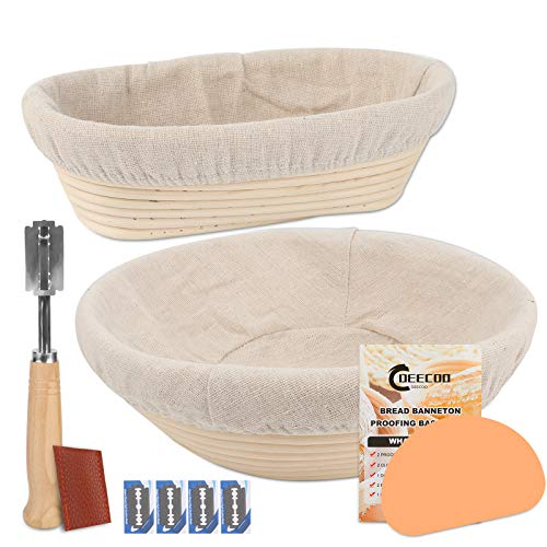 2 Sets Round & Oval Banneton Bread Proofing Basket, DeeCoo 10 Inch Baking Bowl + Dough Scraper + Cloth Liner + Bread Lame, Natural Rattan Starter Jar Proofing Box Gift for Baker