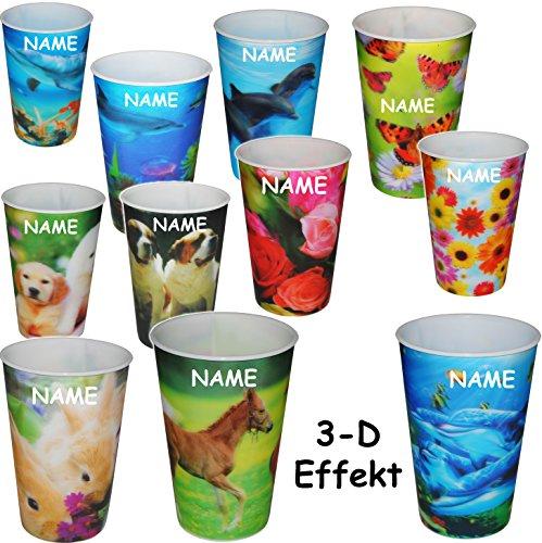 alles-meine.de GmbH 4 Stück _ 3-D Effekt _ 3 in 1 - Trinkbecher / Zahnputzbecher / Malbecher - Becher -  Blumen & Tiere / Fische  - inkl. Name - 320 ml - mehrweg - Trinkglas au..