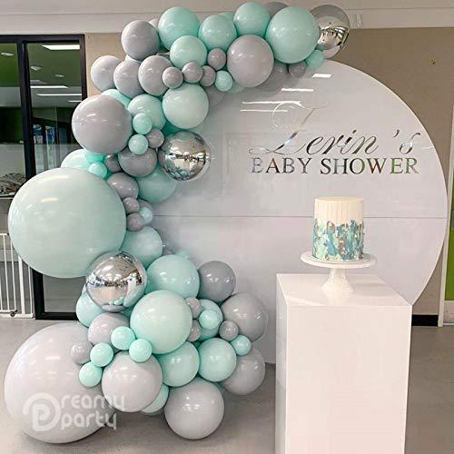 N/F 105 Stück Pastell Luftballons Garland Arch Kit 4D Splitter Macaron Grau Grün Blau Geburtstag Hochzeit Babyparty Jubiläumsfeier Dekor