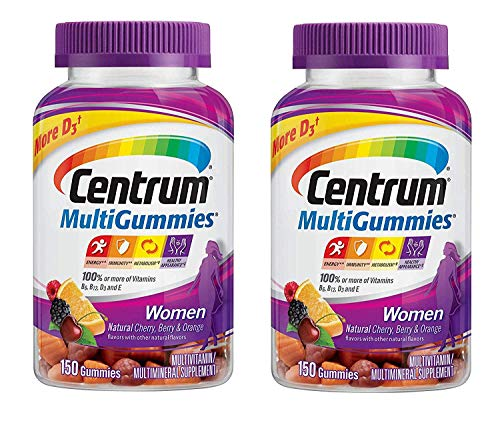 Centrum MultiGummies Women with 100% or More of Vitamins B6, B12, D3 and E for Energy Immunity Metabolism and Healthy Appearance in Natural Cherry Berry and Orange (150 Gummies) Pack of 2