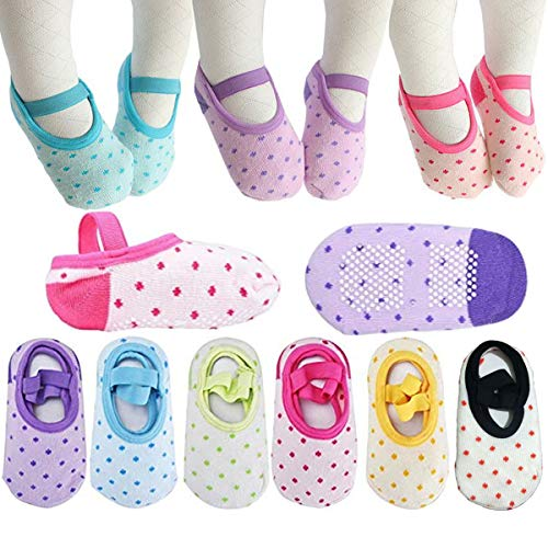 Toddler Girl Socks Baby Dot Mary Jane Non Skid Dress Socks With Grips Anit Slip Little Girls Cotton Socks (8-30 Months) 6 Pairs