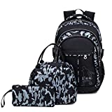 YUIOP Backpack Three-Piece Backpack Lunch Bag Male And Female Middle School Student Schoolbag Camouflage Printed Backpack