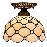 DALUXE Tiffany Techo Lámpara de Techo Lámpara de Techo Vidrio Multicolor Luminaria Balcón Mediterráneo Balcón Cocina Habitación E27 Ø20 * H20CM 8InCH