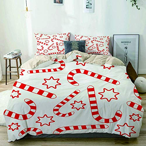 Beige Duvet Cover,Seamless Candy Canes Wallpaper Pattern,3 Pieces Quality Printed Microfiber Bedding Set,Modern Design with Softness Comfortable