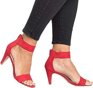 Sandales pour Femmes, été à Bout Ouvert Talon Aiguille Bride à La Cheville Bac-k Zi-p Sandales Grande Taille Femmes Chauss...
