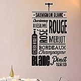 ASFGA Único patrón de Bodega Francesa Etiqueta de la Pared Comedor y Bar Sala de Estar decoración Tipo calcomanía de Pared de Vino Papel de Vinilo extraíble Mural 57x102cm
