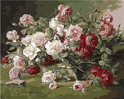 Adultos para colorear por números flor DIY sin marco arte de la pared pintura acrílica pintura al óleo por números florero decoración del hogar A14 40x50cm