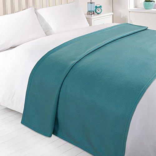 Dreamscene Warm Polar Fleece Throw Over Soft Sofa Bed Blanket Bedspread, Plain Teal Blue - 120 x 150 cm
