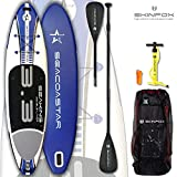 SEACOASTAR SEAKING aufblasbares Double-Layer Inflatable SUP Paddelboard Stand Up 2 lagig sehr kippstabil (325x80x15/Tragkraft 165 kg) ALU-Set blau (Board,Bag,Pumpe,+ALU-SUP-/Kayak Paddle)
