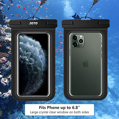 JOTO Universal Waterproof Pouch Cellphone Dry Bag Case for iPhone 12 Pro Max 11 Pro Max Xs Max XR X 8 7 6S Plus SE, Galaxy S20 Ultra S20+ S10 Plus S10e /Note 10+ 9, Pixel 4 XL up to 6.9' -Black