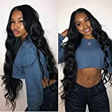 JYL Hair 360 Lace Frontal Wig Pre Plucked Hairline Beyonce wave Brazilian Virgin Hair Human Hair Lace Wigs Glueless 150% Density Bleached Knots (22'' 150% natural color, Beyonce Wave)