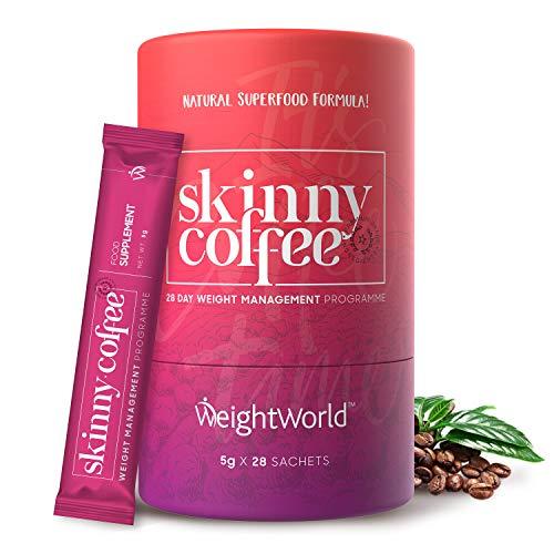 Skinny Coffee - Arabica Kaffee mit Grünem Kaffee, Chlorella, Ginseng, Matcha & L-Carnitin - Keto, Low Carb Kaffee - Vegan, Kalorienarm & Ballaststoffreich - 28 Einzelportionen - Von WeightWorld