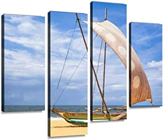 IGOONE 4 Panels Canvas Paintings - Outrigger prahu or proa on The Beach in sri Lanka Fishing Boats in - Wall Art Modern Posters Framed Ready to Hang for Home Wall Decor