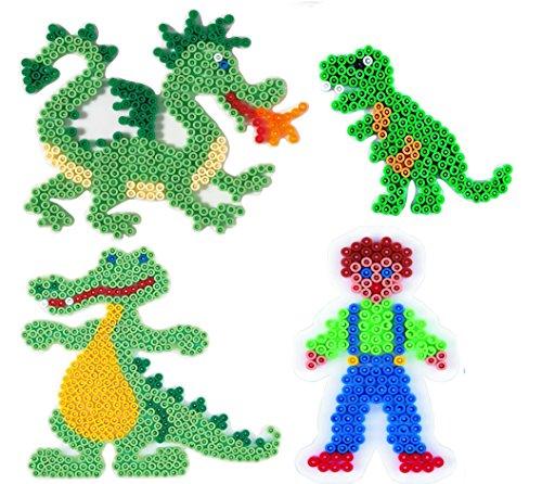 Hama Happy Price Toys (Set 28) Midi Stiftplatten Set 28 - Abenteuer Set - Drache,Dino,Krokodil,Junge + 100 Gratis Perlen