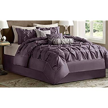 Madison Park Laurel Queen Size Bed Comforter Set Bed In A Bag - Purple, Wrinkle Tufted Pleated – 7 Pieces Bedding Sets – Faux Silk Bedroom Comforters