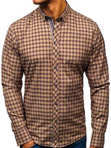 BOLF Hombre Camisa A Cuadros Manga Larga Cuello Americano Slim Fit Estilo Casual 8833 Marrón L [2B2]