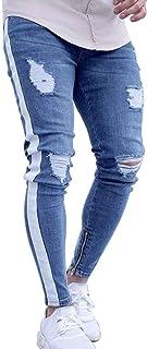 Men's Blue Slim Fit Jeans Stretch Destroyed Ripped Skinny Jeans Side Striped Ankle Zipper Denim Pants