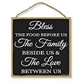 Honey Dew Gifts, Bless The Food Before Us The Family Beside Us and The Love Between US, 10 inches by 10 inches, Family Quotes, Home Saying Wall Art, Food and Love Sign, Kitchen Signs, Christian Decor