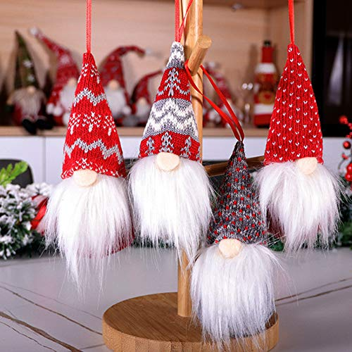 LiRainhan Christmas Ornaments Set of 4,Gnomes Christmas Tree Decorations Clearance Handmade Hanging Home Decorations Holiday Party Decor Gifts