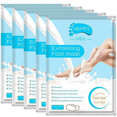 5 Paar fussmaske Fußpeeling Maske, FußMaske Hornhaut Socken, Hornhautentferner Socken Repariert Raue Fersen Baby Feet in 2-7 Tagen für Frauen & Männer