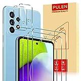 PULEN para Samsung Galaxy A52 4G/5G Cristal Templado Protector de Pantalla (3 PACK) + Protector de Lente de Cámara(2 PACK)9H Dureza [Anti Arañazos] Lens Film Protective Screen Protector