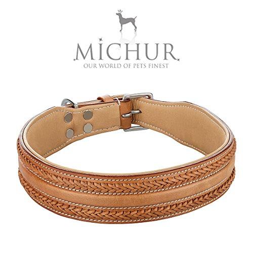 MICHUR LINA Hundehalsband Leder, Lederhalsband Hund, Lederhalsband, Caramel, BEIGE, BRAUN, Breit, in verschiedenen Größen erhältlich