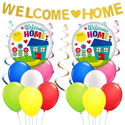 LUCK COLLECTION Bienvenido Home Decorations Bienvenido a casa Banner Balloons Remolino de plástico para decoración del hogar Suministros para Fiestas Familiares