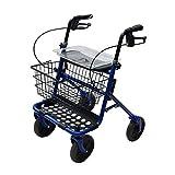 Rollator in Acciaio Pieghevole Blu - Deambulatore per Anziani con 4 ruote, sedile e freni
