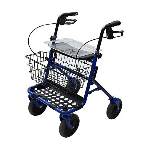Rollator pieghevole in acciaio con 4 ruote e sedile