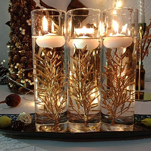 TeaSu Mini Golden Flower Filler for Floating Candles, 20Pcs Branch Wedding Centerpiece, Dinning Table Decoration for Party Home Bar and Restaurant