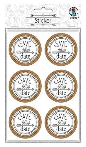 URSUS 59530005F Sticker Hochzeit, 24 Aufkleber mit Schriftzug Save The Date, selbstklebend und folienveredelt, Durchmesser je ca. 4,8 cm, bunt
