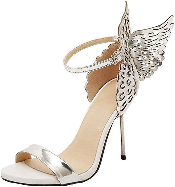 LLZY Womens Fashion Butterfly Wings High Heel Open Toe Sandals
