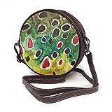 Bolso bandolera para mujer, bolso lateral para vacaciones, viaje, verano, moda, círculo, amor, pesca de trucha, color marrón