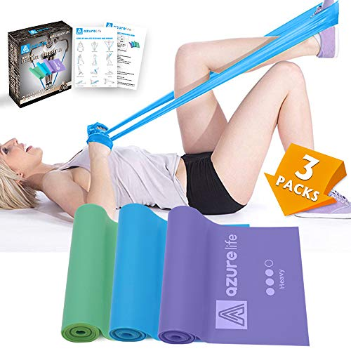 A AZURELIFE Resistance Bands, Different Strengths of 5 ft. Long Resistance Exercise Bands, Professional Non-Latex Elastic Stretch Bands for Physical Therapy, Yoga, Pilates, Rehab, Home Workout