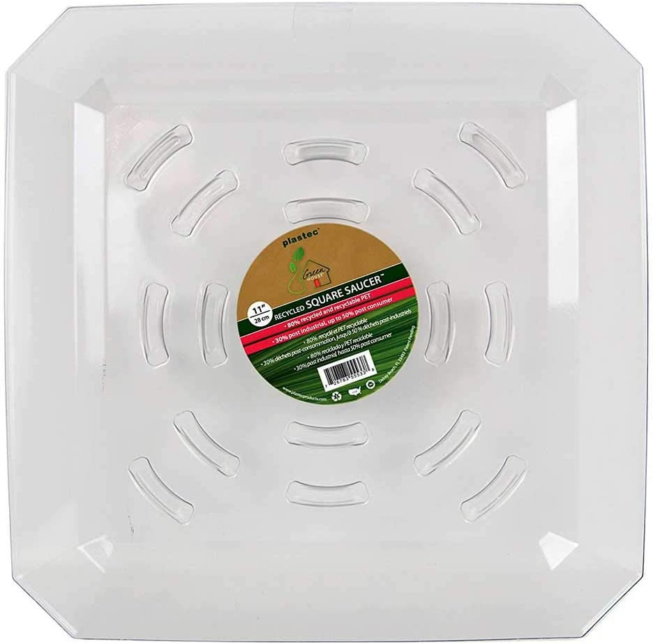 11-Inch Square Recycled Plant Saucer Transparent