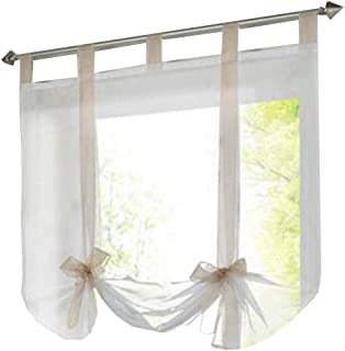 HomeyHo Sheer Curtain for Bed Roman Curtains for Kitchen Windows Tab Top Curtains Sheer Curtain Decor Tie Up Curtains for Windows Liftable 24 x 55 Inch Sand Ribbon