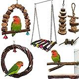 Juguetes para pájaros, 8 piezas, juguete para loros de madera natural, columpio, jaula de pájaros, hamaca, juguetes para masticar, perchador para pájaros pequeños, cacatoes, pelucas, conejos, pinzas.