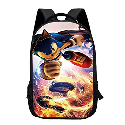 Sonic the Hedgehog 3D Backpack Double Layer Laptop Backpacks School Men Women Rucksack with USB Charging Port Bookbags,1
