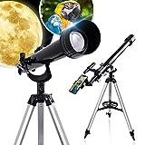 HUTACT Telescopio de 800 mm para niños Adultos astronomía Principiantes, 60 mm Apertura Refractor telescopio para astronomía con trípode, Lente Barlow, Adaptador para Smartphone, 3 oculares