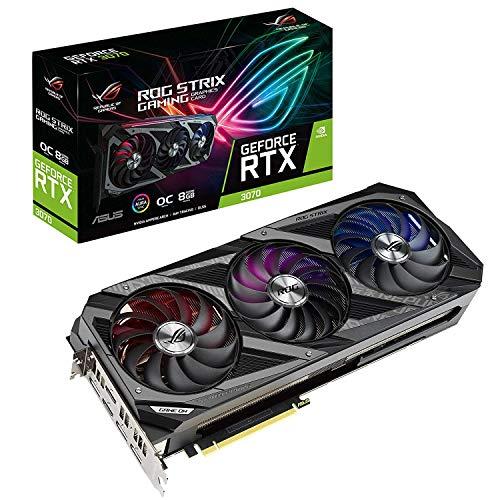 ASUS ROG Strix GeForce RTX 3070 8GB OC Edition Gaming Grafikkarte (GDDR6 Speicher, PCIe 4.0, 2x HDMI 2.1, 3x DisplayPort 1.4a, 1x USB-C, ROG-STRIX-RTX3070-O8G-GAMING)
