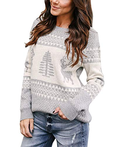 Yidarton Women's Ugly Christmas Sweaters Holiday Patterns Reindeer Tree Knit Pullover(Gray,L