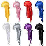 8 Pack Silk Durag for Men and Women Satin Silky Durags Long Tail Headwrap Durag Breathable Turban Hat with 4pcs Stocking Cap Satin Sliky Long Wide Straps Doo Durag Pirate Hat