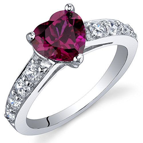 Peora Dazzling Love 1.50 Carats Created Ruby Ring in Sterling Silver Size 5