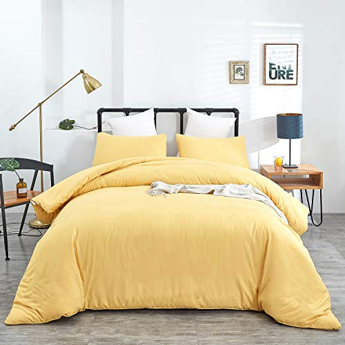Wellboo Yellow Comforter Sets Cotton Queen Women Bedding Sets Solid Yellow Adult Full Comforter Lightweight Microfiber Quilts Solid Color Blankets Breathable Health with 2 Pillowcases