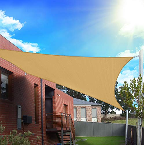 FLY HAWK Sun Shade Sail Rectangle 6' x 8', Patio Sunshade Cover Canopy - Durable Fabric Cloth for Outdoor Garden Yard Porch Pergola Driveway - Sand Color(6' x 8' Rectangle)
