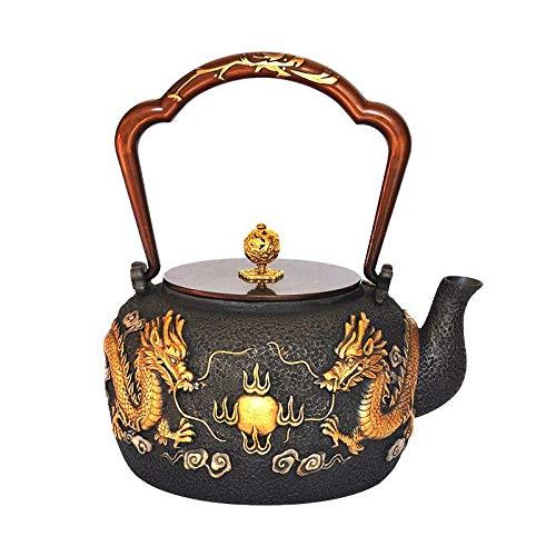 Dragon - Tetera de hierro fundido (1200 ml), diseño de dragón